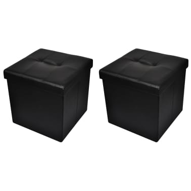 Foldable Storage Stool Ottoman Footstool Black 2 pcs[1/5]