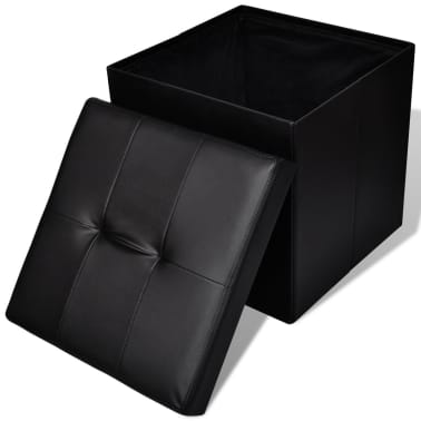 Foldable Storage Stool Ottoman Footstool Black 2 pcs[3/5]