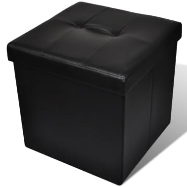 Foldable Storage Stool Ottoman Footstool Black 2 pcs[5/5]