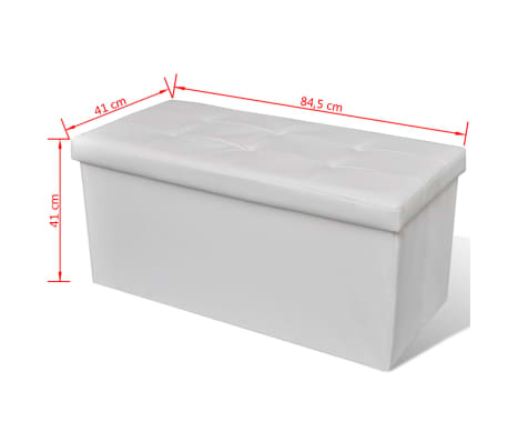Banc de rangement pliable Blanc[5/5]
