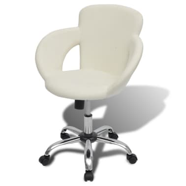 Professional Salon Spa Stool Swivel Stool White with Armrest[1/6]