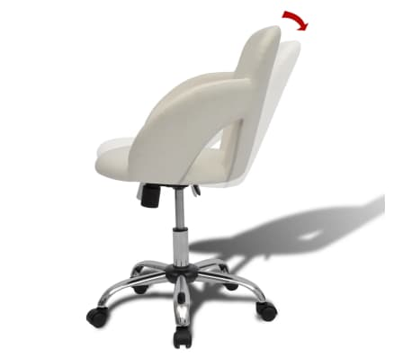 Professional Salon Spa Stool Swivel Stool White with Armrest[6/6]