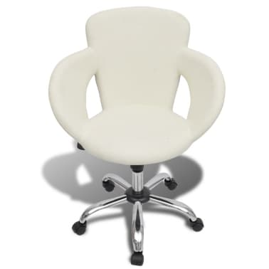 Professional Salon Spa Stool Swivel Stool White with Armrest[2/6]