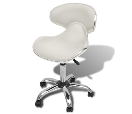 Professional Salon Spa Stool Curve Design with Backrest White[1/5]