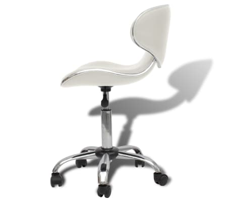 Professional Salon Spa Stool Curve Design with Backrest White[3/5]