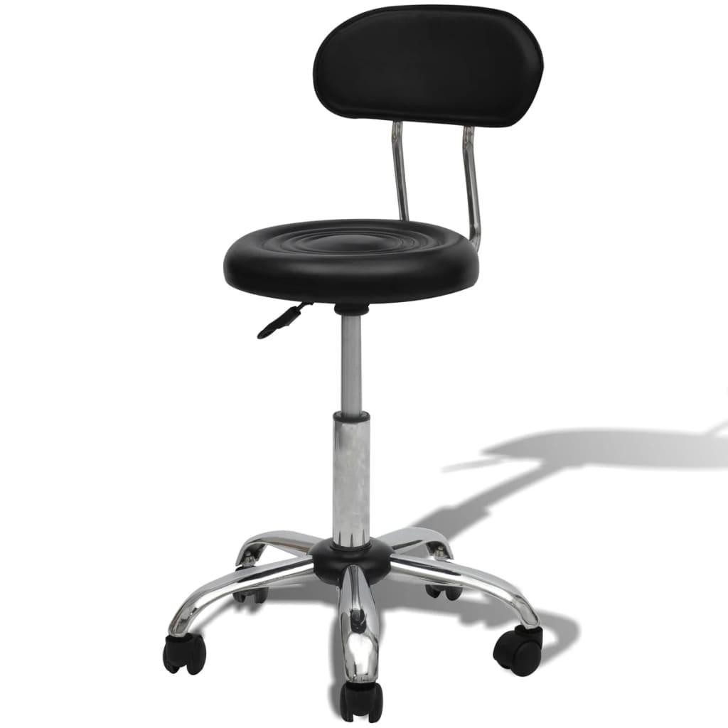 Profesionální otočná židle do salonů krásy/spa kulatá černá, opěradlo