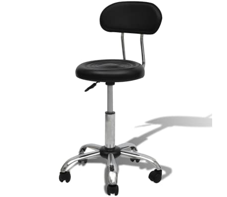 Professional Salon Spa Stool Black Round Seat with Backrest[1/5]