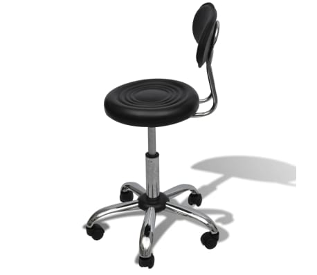 Professional Salon Spa Stool Black Round Seat with Backrest[3/5]