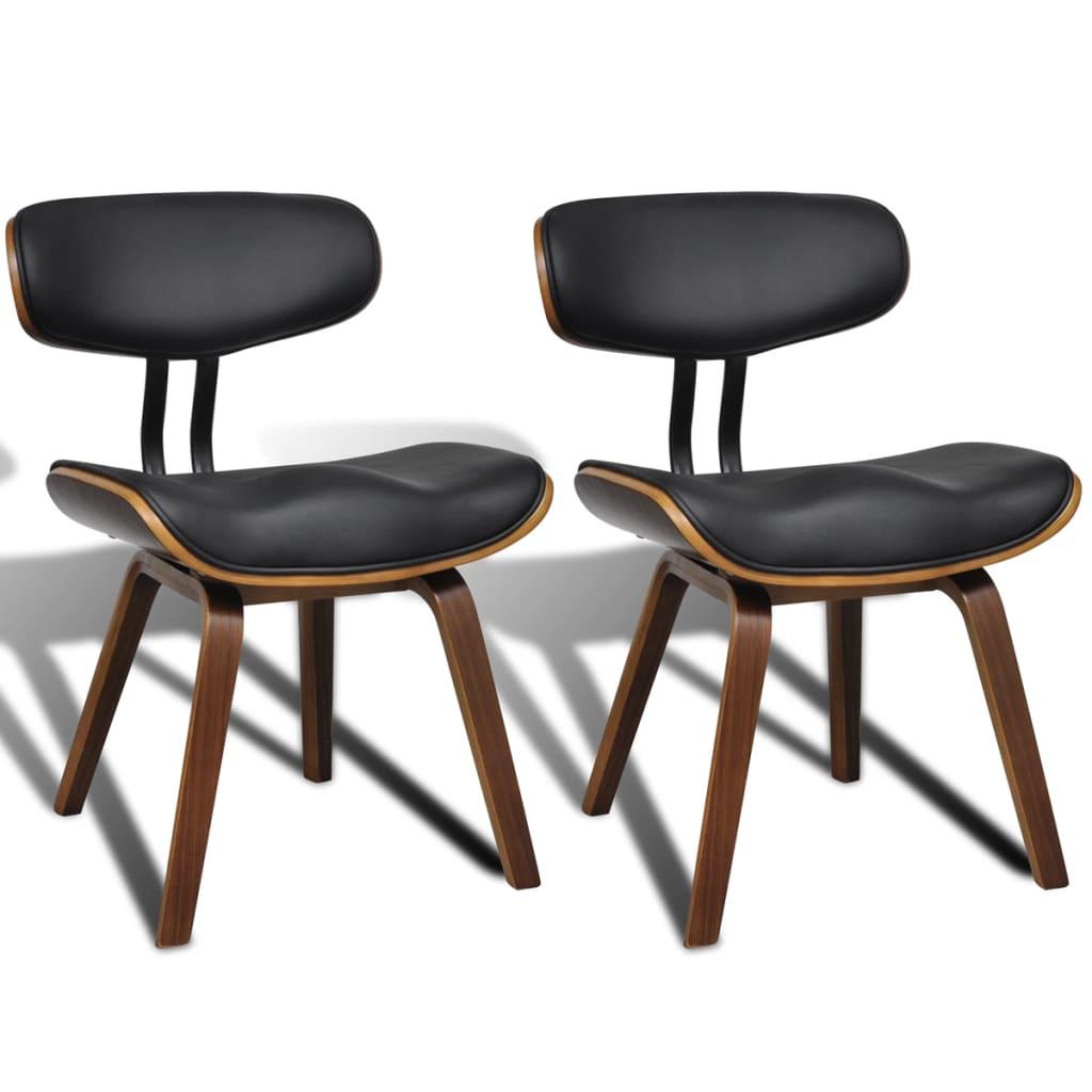 vidaXL Καρέκλες Τραπεζαρίας 2 τεμ. από Λυγισμένο Ξύλο/Συνθετικό Δέρμα