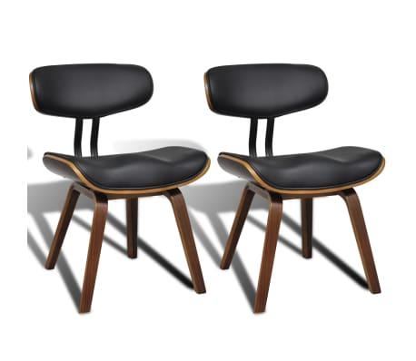 vidaXL Valgomojo kėdės, 2vnt., išlenkta mediena ir dirbtinė oda