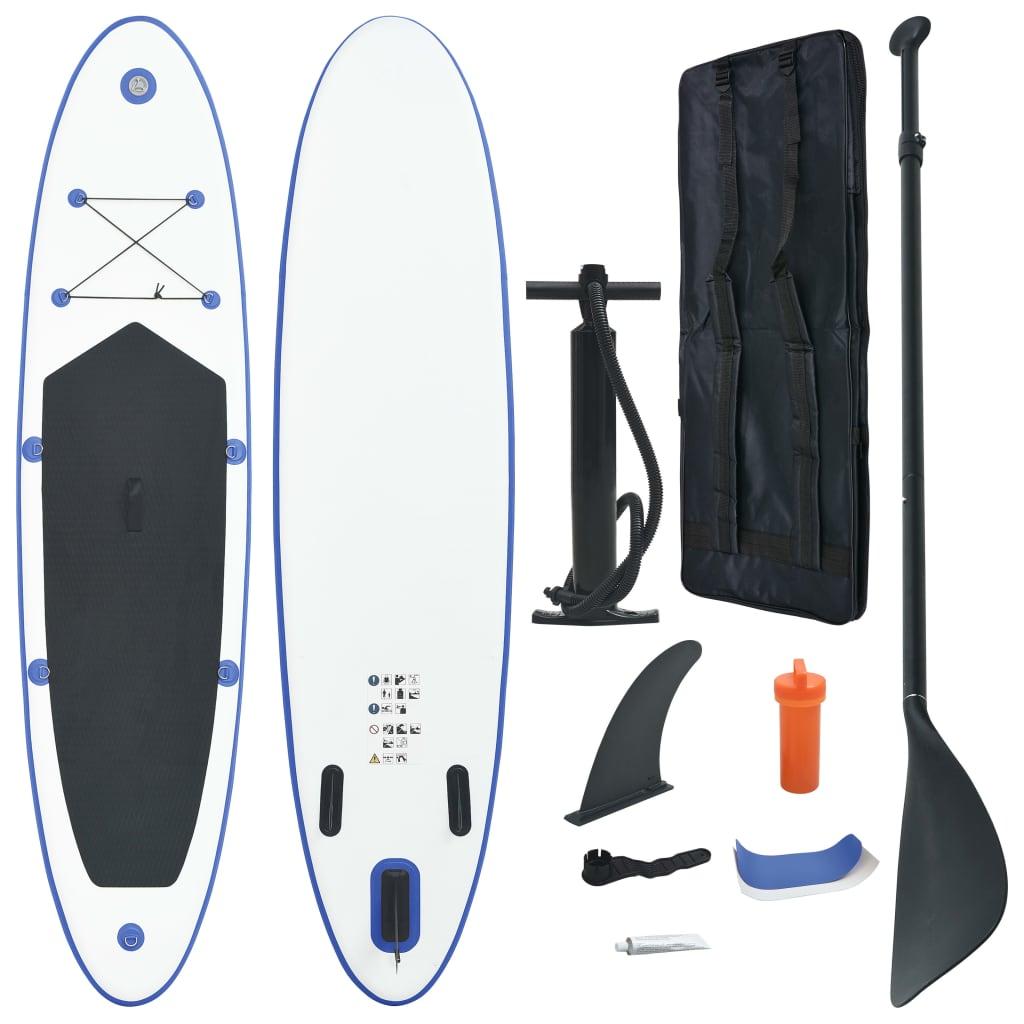 vidaXL Set placă SUP, placă SUP surfing, albastru și alb, gonflabil imagine vidaxl.ro