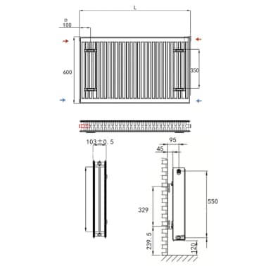 White Compact Convector Radiator Side Connectors 120 x 10 x 60 cm[7/8]
