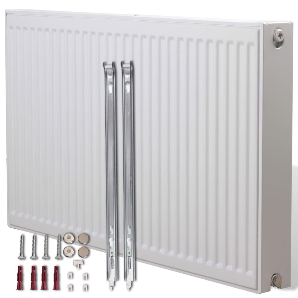 Dvoudeskový radiátor pro spodní připojení - 100 x 10 x 60 cm - bílý