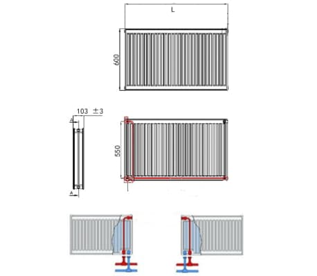 White Compact Convector Radiator Bottom Connectors 120 x 10 x 60 cm[7/8]