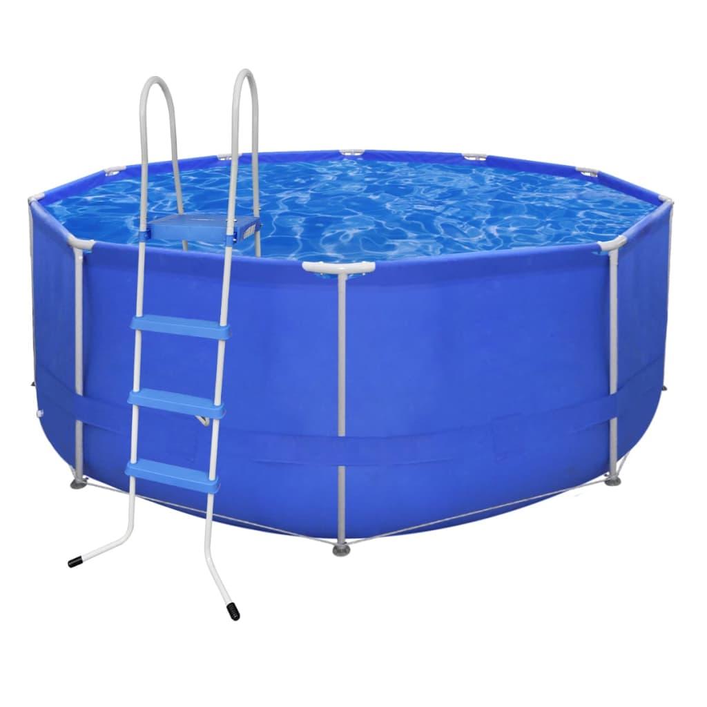 Kulatý bazén s ocelovým rámem 367 x 122 cm s žebříkem