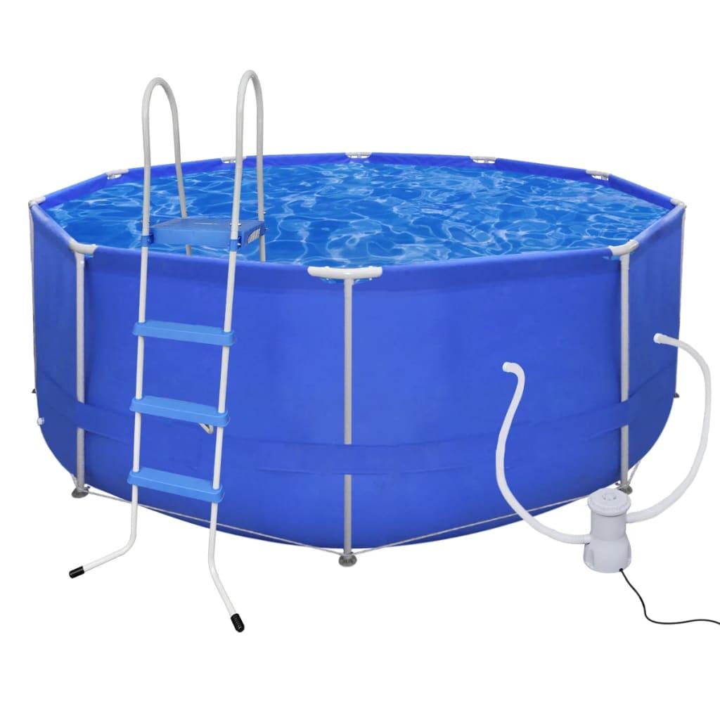 vidaXL Merevfalú medence Kerek 367 cm+létra+szûrõ szivattyú 530 gallon / óra