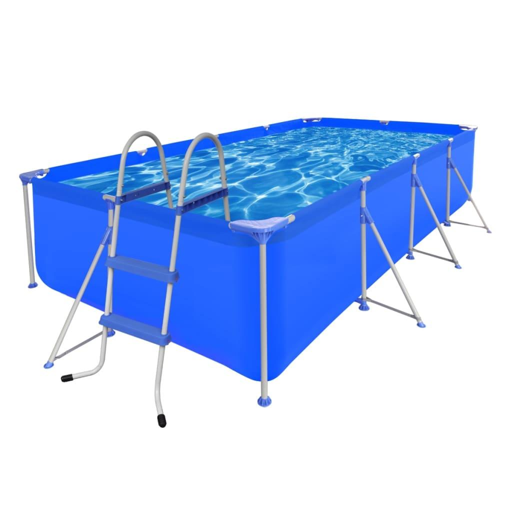 Bazén s žebříkem 394 x 207 x 80 cm ocelový