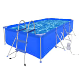 Schwimmbecken mit Leiter und Pumpe Komplett-Set 394 x 207 x 80 cm Stahl