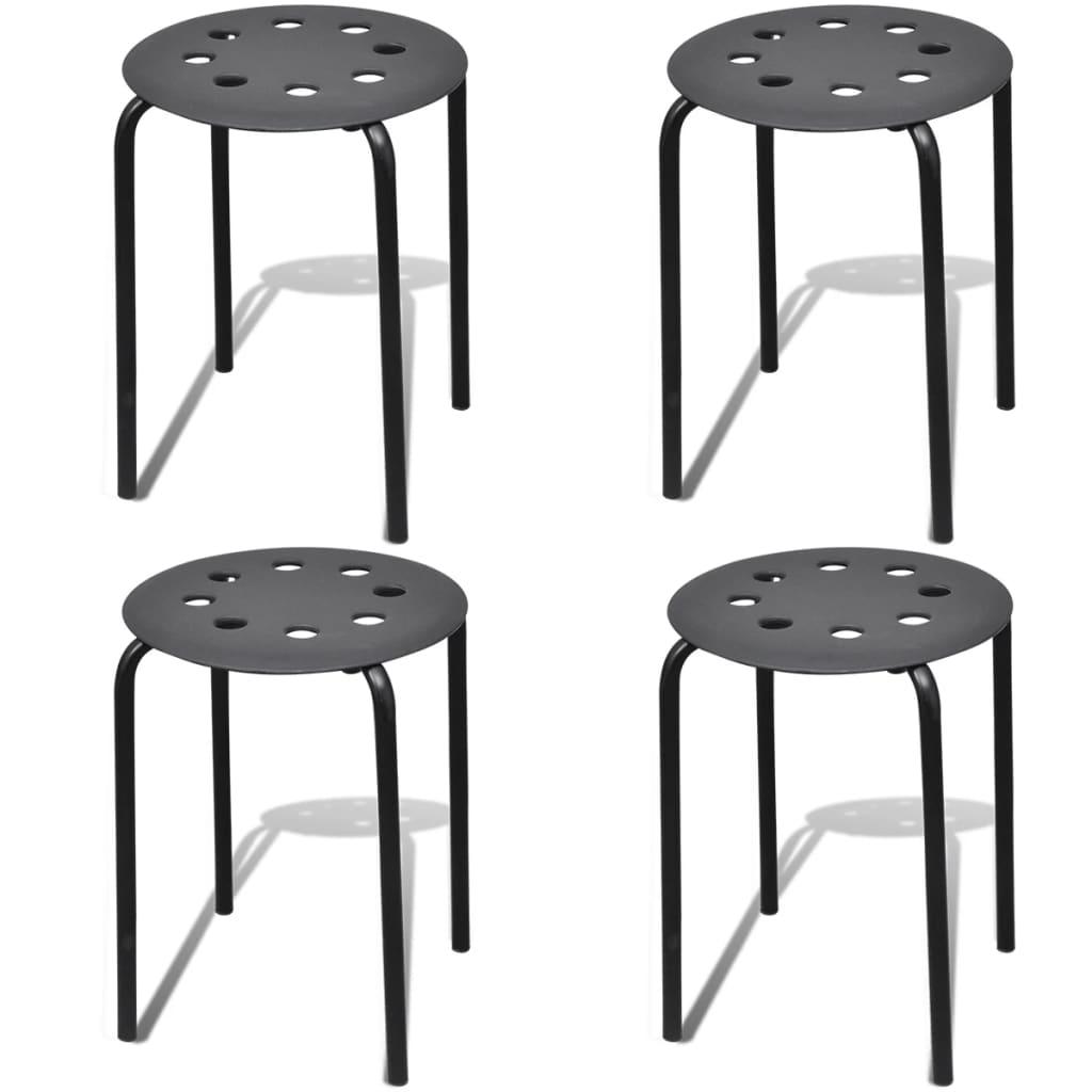 vidaXL Stohovatelné stoličky 4 ks kulaté