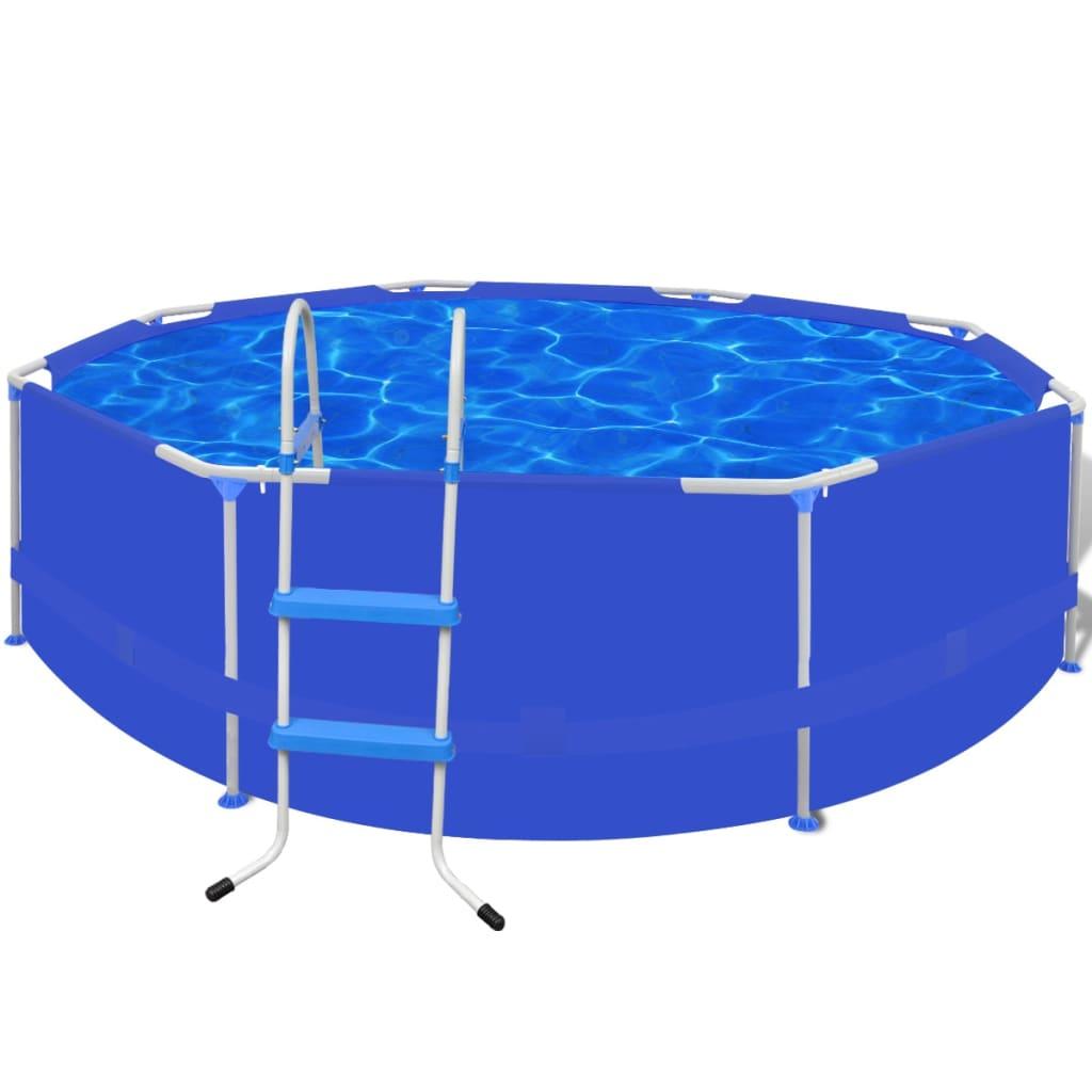 Bazén kulatý s ocelovým rámem 300 x 76 cm s žebříkem