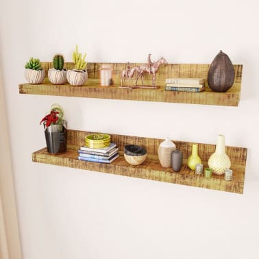 Solid Wood Wall Mounted Display Shelf 2 pcs[2/8]