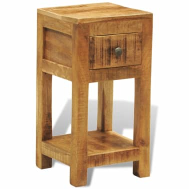 vidaXL Nightstand with 1 Drawer Solid Mango Wood[4/10]