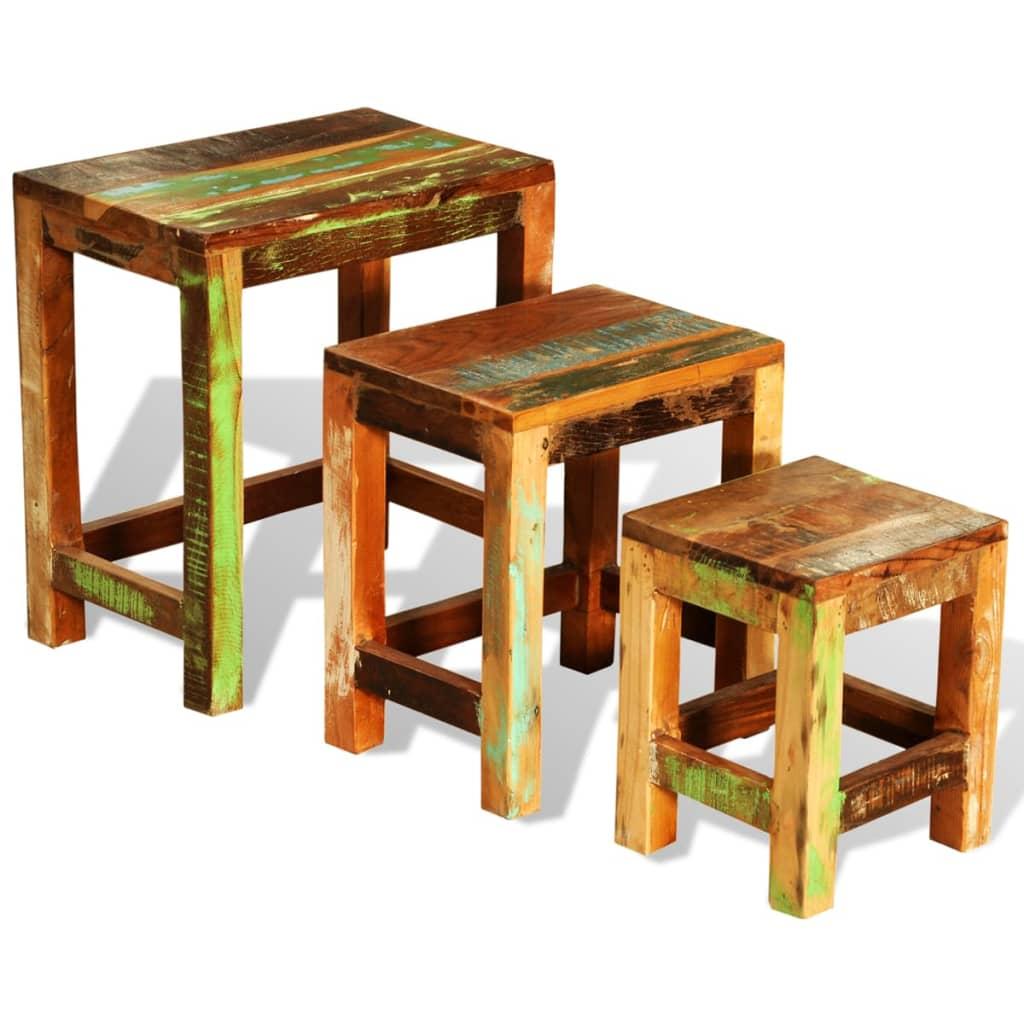 Sada 3 vintage stohovatelných stolků z recyklovaného dřeva