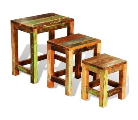 vidaXL 3-delige Bijzettafeltjesset vintage stijl gerecycled hout