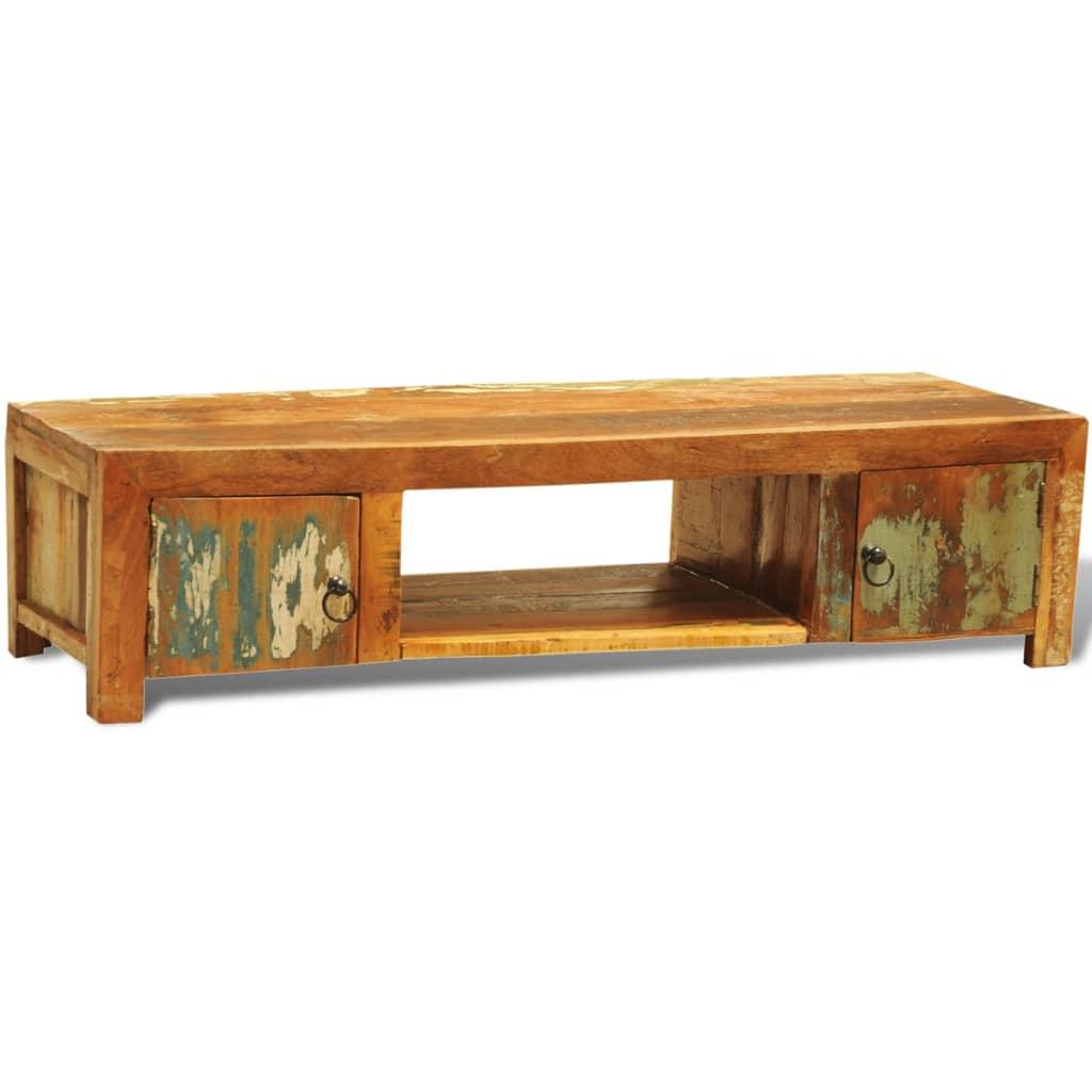 Televizní stolek z recyklovaného dřeva s 2 dvířky, vintage antik styl