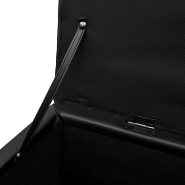 Cufăr din Piele Artificială Negru cu Scăunel Set 3 buc[7/8]