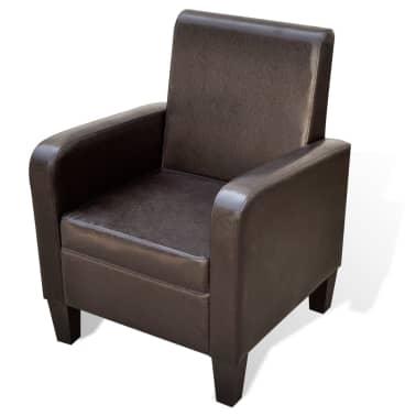 vidaXL Fotelja od Umjetne Kože Smeđa[1/5]