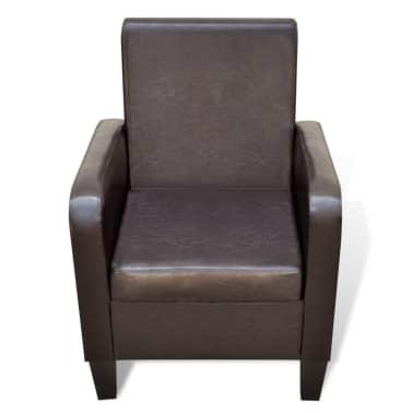 vidaXL Fotelja od Umjetne Kože Smeđa[3/5]