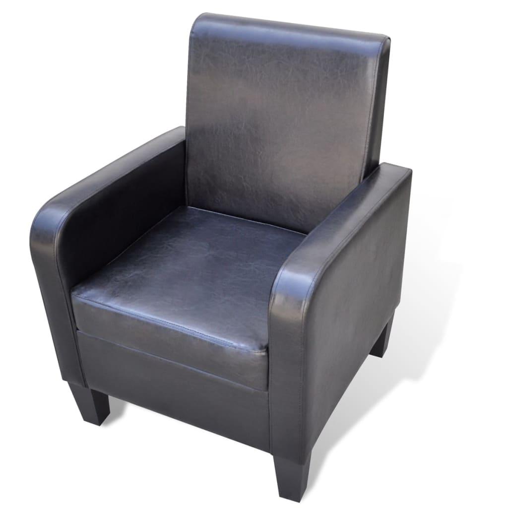 vidaXL Fotel, czarny, sztuczna skóra