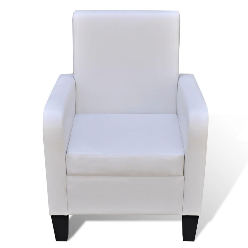 Stoelen vidaXL Fauteuil kunstleer wit met veel voordeel Fauteuils, relaxstoelen en slaapfauteuils