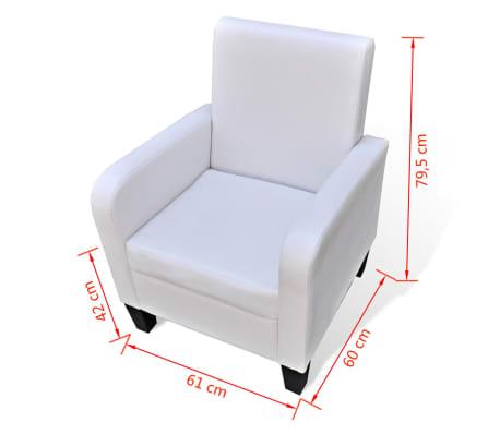 vidaXL Fotelja od Umjetne Kože Bijela[5/5]