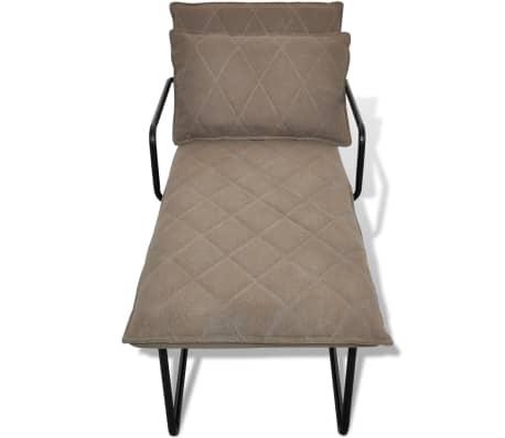 acheter vidaxl chaise longue avec cadre en fer tissu marron clair pas cher. Black Bedroom Furniture Sets. Home Design Ideas