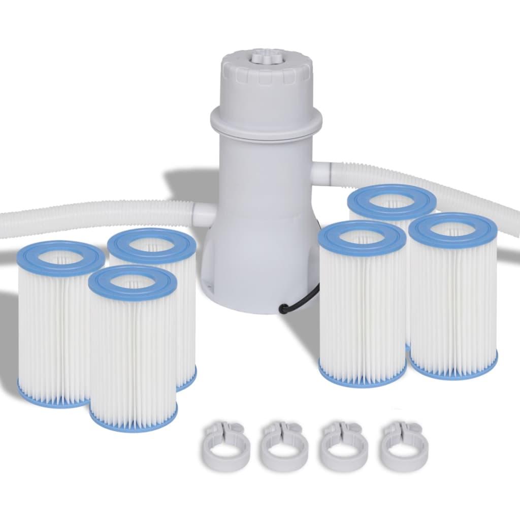 Set pompă cu filtru pentru piscină 3785 L/h și 7 filtre poza vidaxl.ro