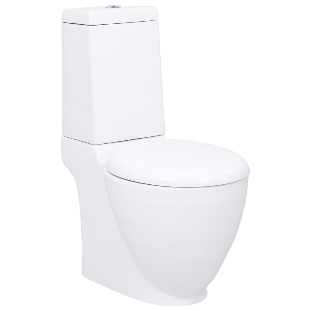 vidaXL Keramické WC kombi kulaté bílé