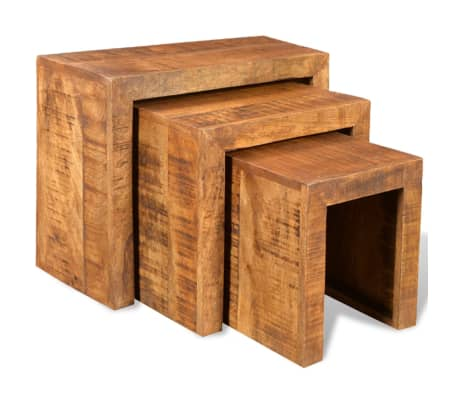 vidaXL Nesting Table Set 3 Pieces Solid Mango Wood