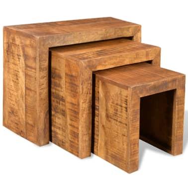 vidaXL Nesting Table Set 3 Pieces Solid Mango Wood[1/6]