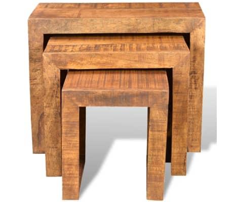 vidaXL Nesting Table Set 3 Pieces Solid Mango Wood[3/6]