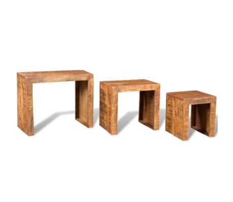 vidaXL Nesting Table Set 3 Pieces Solid Mango Wood[4/6]