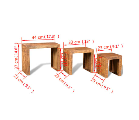 vidaXL Nesting Table Set 3 Pieces Solid Mango Wood[6/6]