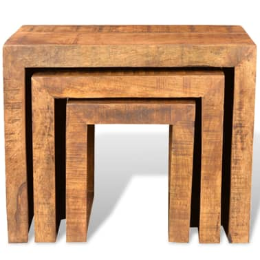 vidaXL Nesting Table Set 3 Pieces Solid Mango Wood[2/6]