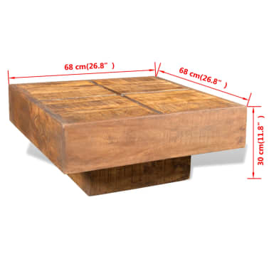 vidaXL Coffee Table Brown Square Solid Mango Wood[7/7]