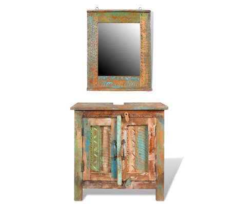 Reclaimed Solid Wood Bathroom Vanity Cabinet Set with Mirror[1/16]
