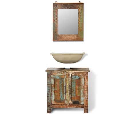 Kopalniški Set Omarica za Umivalnik in Ogledalo iz Predelanega Lesa[2/16]