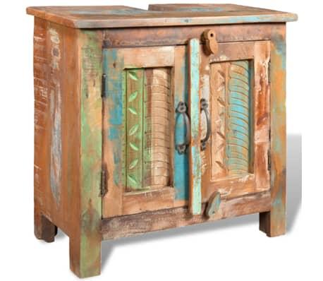 Reclaimed Solid Wood Bathroom Vanity Cabinet Set with Mirror[5/16]