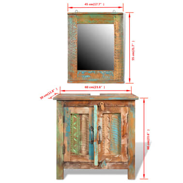 Reclaimed Solid Wood Bathroom Vanity Cabinet Set with Mirror[16/16]