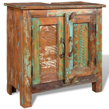 Reclaimed Solid Wood Bathroom Vanity Cabinet Set with Mirror[10/16]